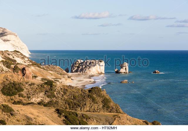Coastal View at Petra tou Romiou, Paphos, Cyprus - Stock Image