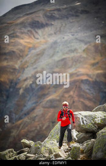 A man at the area of Furkapass, Switzerland - Stock Image