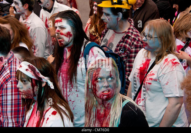 Beach of the Dead: Zombies Walk Brighton October 20th 2012 photo©Julia Claxton/AlamyLive News - Stock Image
