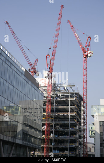 UK, England, Manchester, Byrom Street, construction, cranes, building, - Stock Image