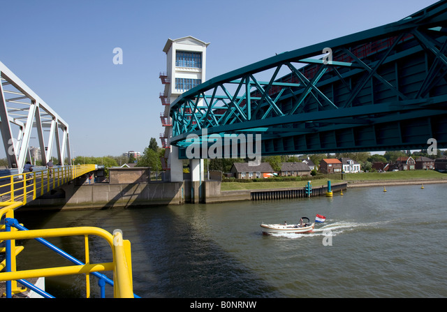 First dutch surge barrier to protect the country from the sea, Algera Surge Barrier, Krimpen aan de IJssel, The - Stock Image