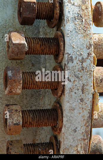 Rusty, bolts, nuts, corrosion, corroded, thread, engineering, washer, bolt, oxide, oxidation, chemistry, - Stock Image