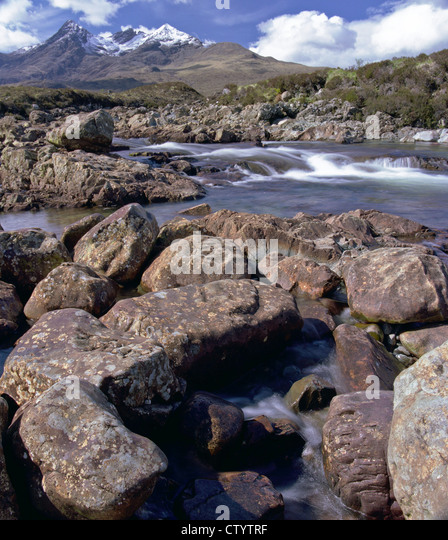 Glen Sligachan on the Isle of Skye on a bright sunny day - Stock Image