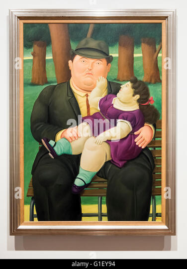 Painting of father with child by Fernando Botero at Botero Museum Bogota Colombia - Stock Image