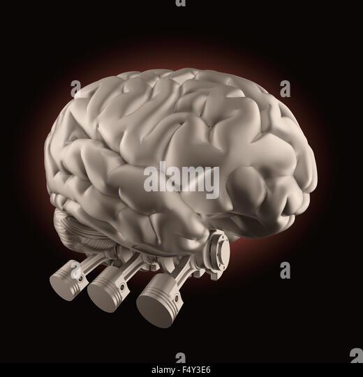Brain with combustion engine valves - brain stimulation and power concept - Stock-Bilder