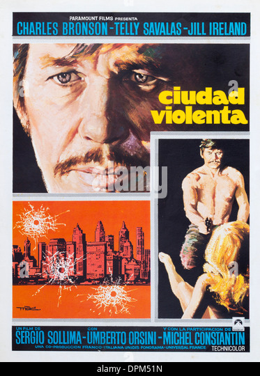 Spanish film poster for Charles Bronson film, ` Violent City` ( Ciudad Violenta ) - Stock Image