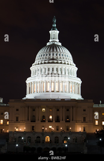 United states capitol at night, Washington DC, USA - Stock Image