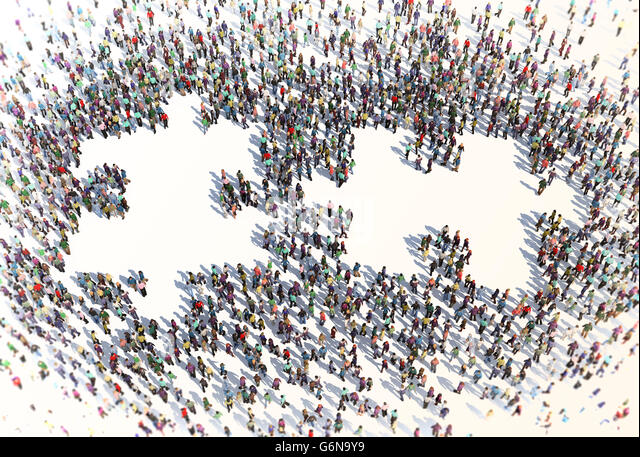 Large group of people forming a puzzle symbol - 3D illustration - Stock-Bilder