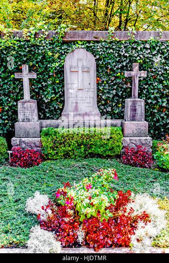 Grave of Johanna Spyri, creator of Heidi, at the Sihlfeld Cemetery in Zurich; Grab der Familie Spyri Friedhof Sihlfeld - Stock Image