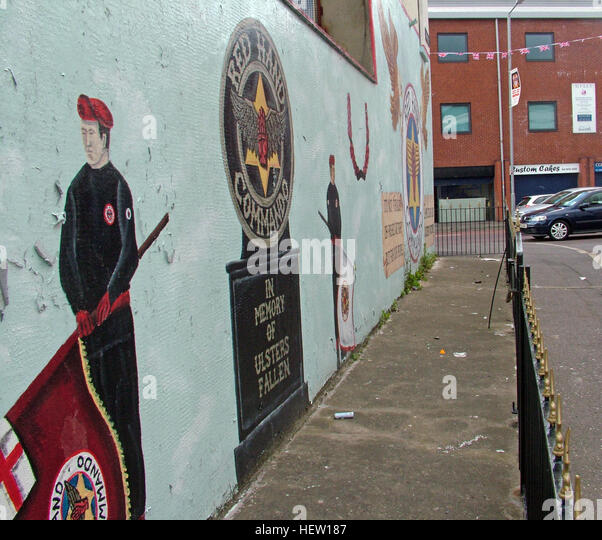 Shankill Road Mural -Red Hand Commando,soldier & flag,West Belfast, Northern Ireland, UK - Stock Image