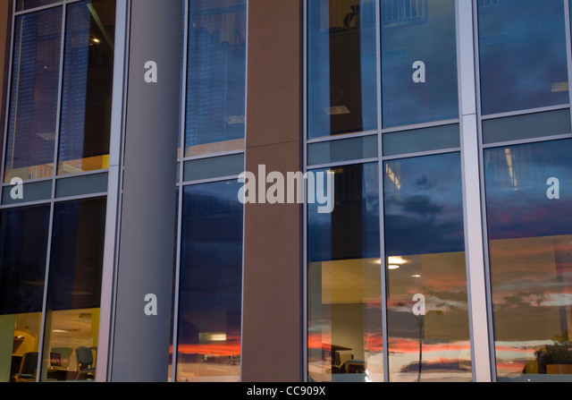 architecture abstract - large window of a library with sunset reflection (Colorado State University in Fort Collins) - Stock Image