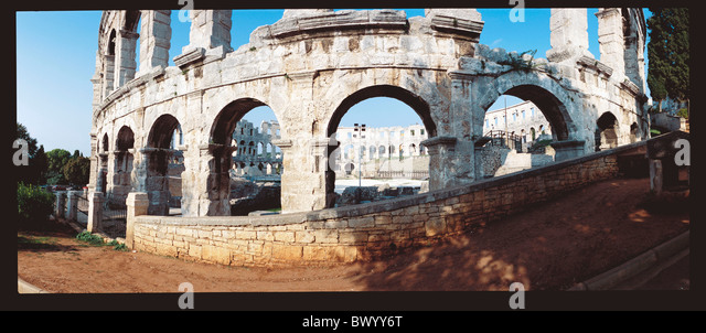 amphitheater Ancient world antiquity historical Istria Croatia panorama Roman Roman town city Pula wide - Stock Image