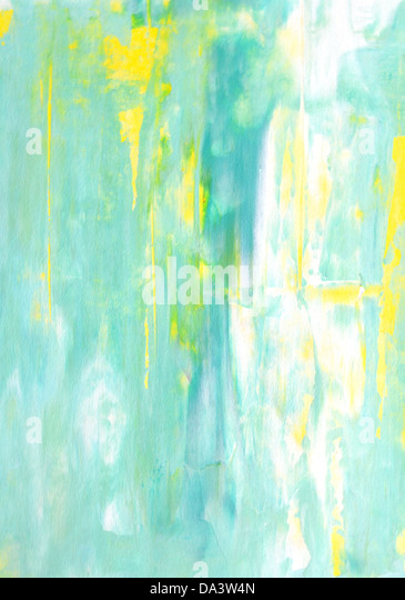 Turquoise and Yellow Abstract Art Painting - Stock Image