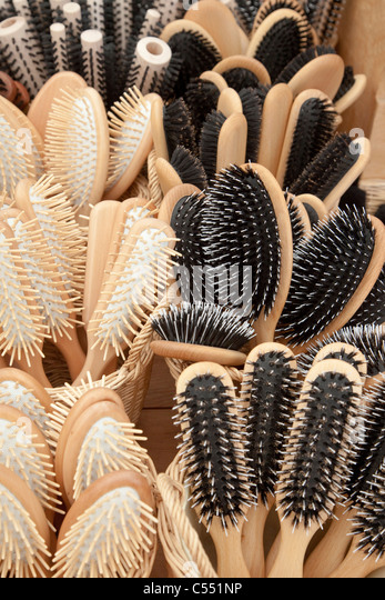 Hair brushes with natural bristles - Haarbürsten mit Naturborsten - Stock Image