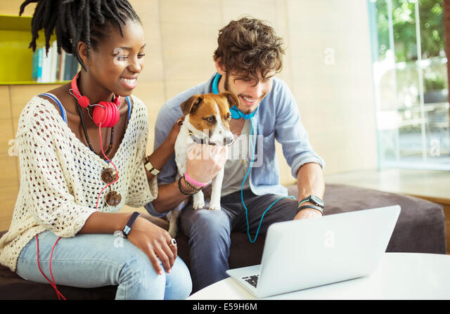 Friends and dog working on laptop in office - Stock Image