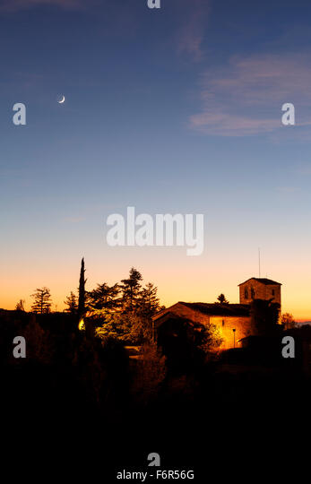 Church and moon at sunset. Tavertet. Osona Region. Barcelona. Cataluña. Spain. Europe - Stock Image