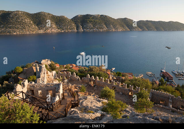 View over castle and Kekova, Simena (Kalekoy), near Kas, Lycia, Antalya, Mediterranean Coast, Southwest Turkey, - Stock Image