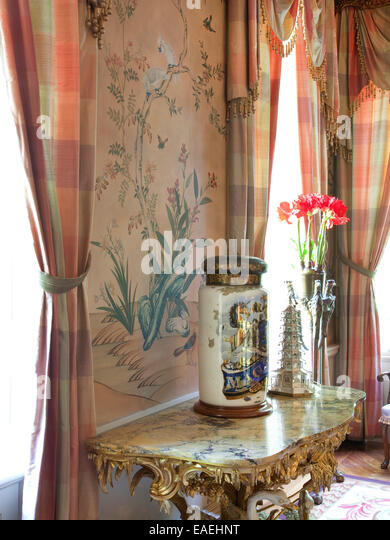 detail of side table in dining room of Swan House, Atlanta, Georgia. - Stock Image