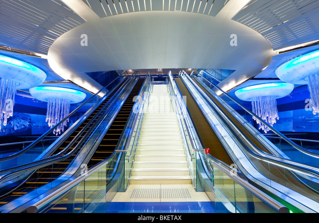 Dubai Metro station, Modern Interior Design, opened in 2010, Dubai, UAE, United Arab Emirates - Stock Image
