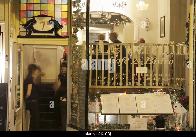 England UK Harrogate Montpellier Parade Le Jardin Cafe and Bistro restaurant - Stock Image