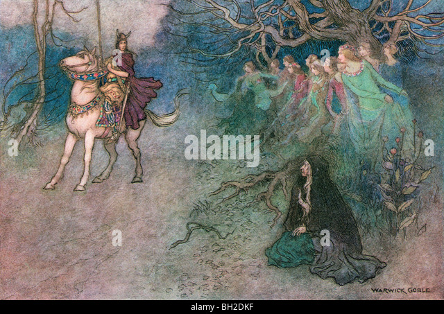 The Knight and the Old  Woman at the Court, by Warwick Goble, from The Complete Poetical Works of Geoffrey Chaucer, - Stock Image