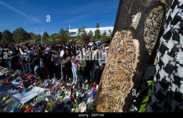 Los Angeles, USA. 8th Dec, 2013. Fans of actor Paul Walker mourn at a memorial rally and car cruise in Valencia, - Stock Image
