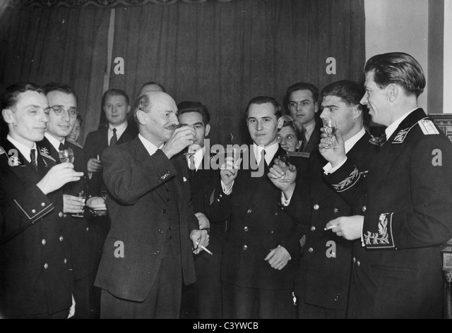 CLEMENT ATTLEE (1883-1967) as UK Prime Minister in a 1945 reception at the Russian Embassy in London - Stock Image