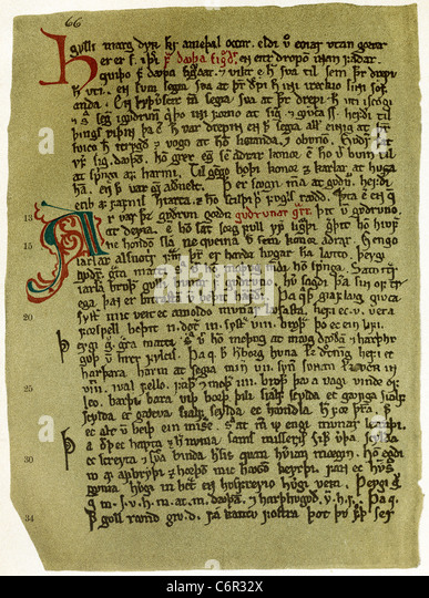 This 1910 facsimile shows the oldest surviving handwritten text of a page of the Poetic Eddas. - Stock Image
