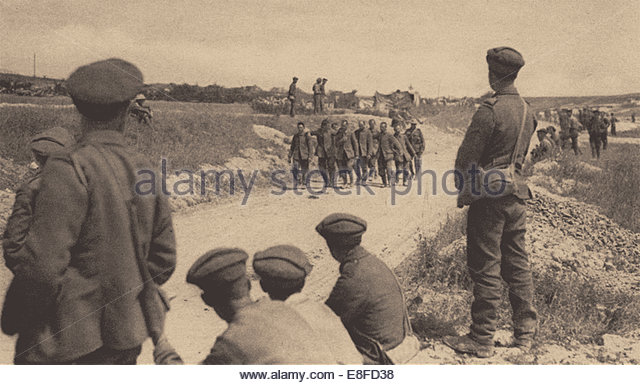 German prisoners of war, on the Somme. August, 1916. Artist: Anonymous - Stock Image