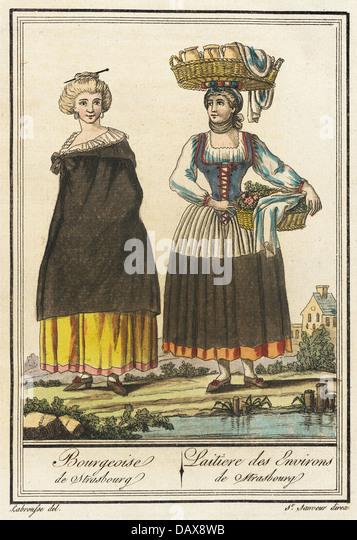 Costumes de Different Pays, 'Bourgeoise de Strasbourg- Laitiere des Environs de Strasbourg' M.83.190.8 - Stock Image