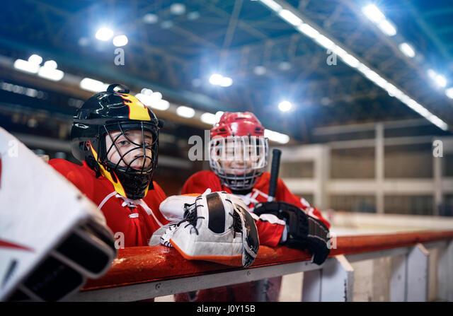 Ice hockey youth boys players - Stock Image