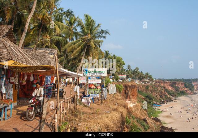 Varkala cliff, Beach Resorts, Shops, India Kerala - Stock Image