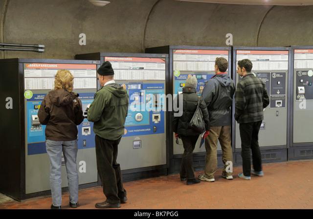 Washington DC McPherson Square Metro Station Metrorail rapid transit system public transportation vending machine - Stock Image