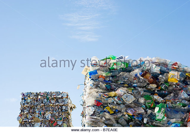 Stacks of recycling - Stock Image