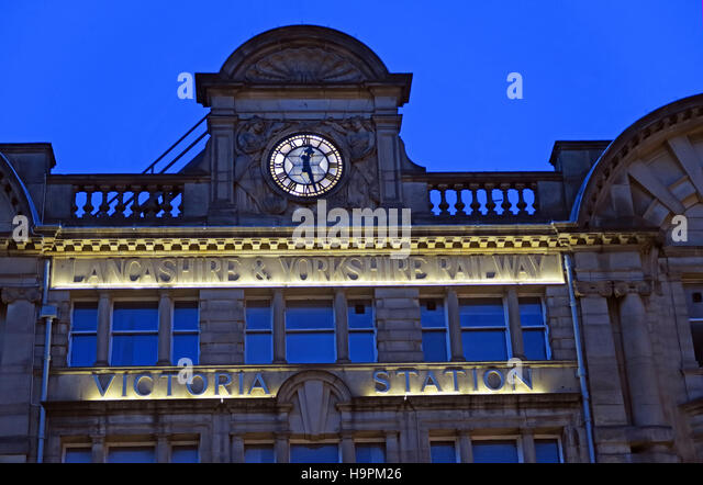 Victoria Rail Station,Manchester at dusk,Lancashire,UK - Stock Image