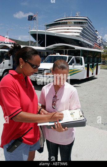 BVI Tortola Road Town Holland America Caribbean cruise ms Noordam tour operator manager Black female - Stock Image
