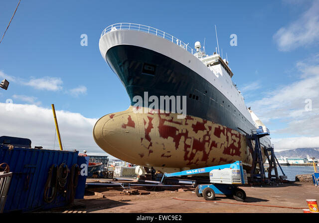 ship repairs in dry dock Reykjavik harbour iceland - Stock Image
