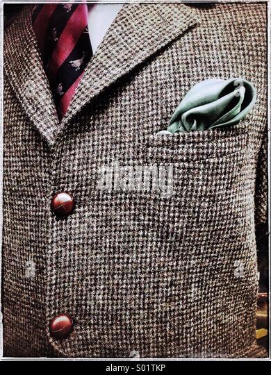 Gentleman's tweed jacket -close-up - Stock Image