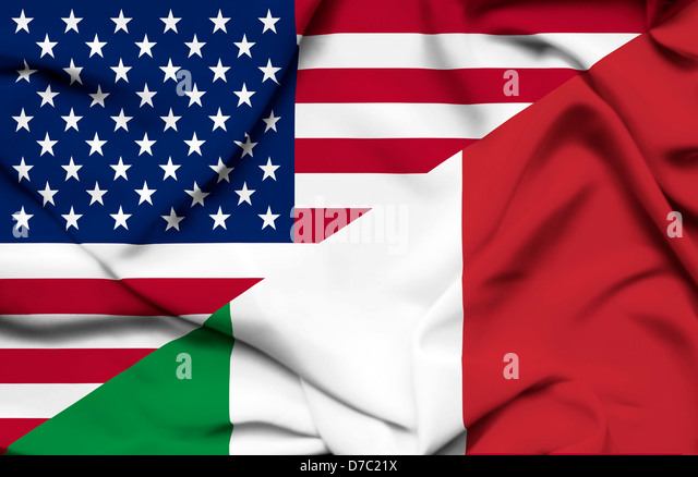 United States of America and Italy waving flag - Stock Image