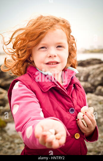 A little girl, aged 5, holding a sea shells on a beach, on a cold day. - Stock Image