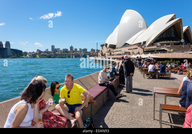 Australia NSW New South Wales Sydney Sydney Harbour harbor East Circular Quay Sydney Opera House promenade Opera - Stock Image
