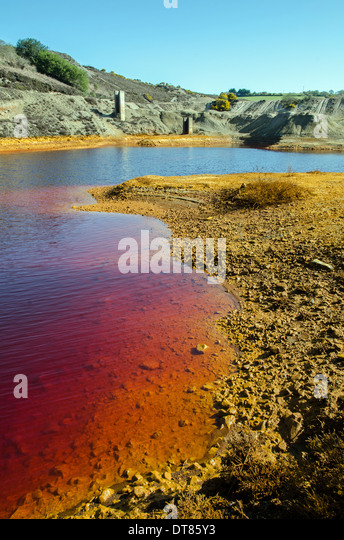Pollution from chemicals at an old copper mine near St.Day, Cornwall, UK - Stock Image