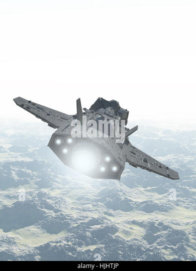 Interplanetary Spaceship Over Mountain Landscape - science fiction illustration - Stock Image