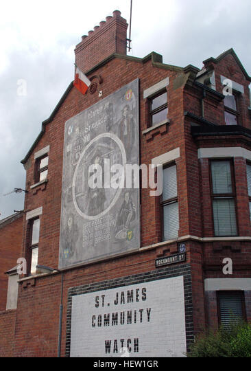 Belfast Falls Rd Republican Mural Rockmount St - St James Community watch - Stock Image