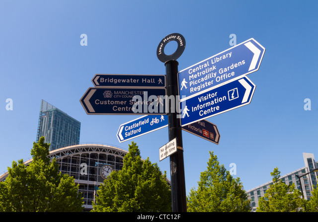 Signposts for Manchester attractions - Stock-Bilder