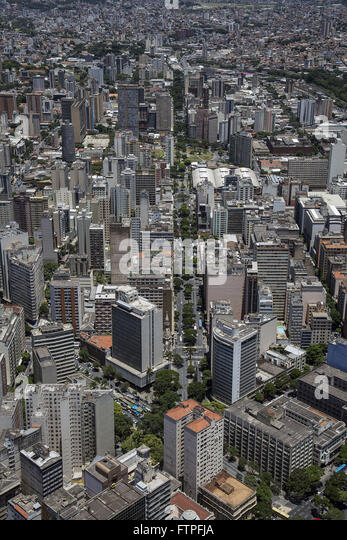 Aerial view of the city center with Augusto de Lima Avenue - Stock Image