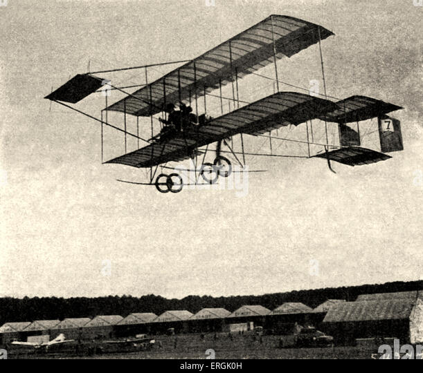 Biplane, early 20th century. - Stock Image