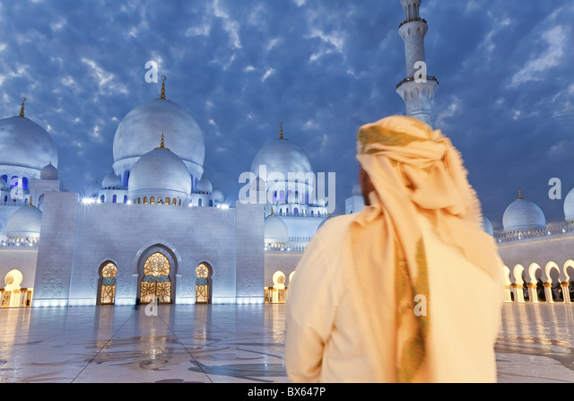 Sheikh Zayed Bin Sultan Al Nahyan Mosque, Abu Dhabi, United Arab Emirates, Middle East - Stock Image