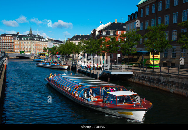 Tourist sightseeing cruise tour boat Borsgraven canal central Copenhagen Denmark Europe - Stock Image