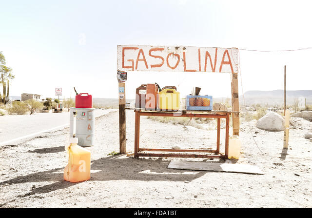 Gasoline stand in Baja California, Mexico - Stock Image